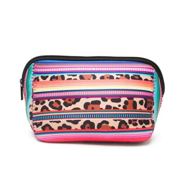 04d2c068e88 Neoprene Cactus Cosmetic Case Stripe Leopard Triangle Makeup Bag Women  Accessories Hand Bag Free Shipping DOM106529