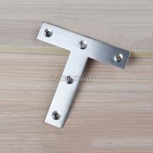 все цены на Brand New 100PCS Stainless Steel Flat Corner Braces T Shape Board Frame Joint Shelf Support Brackets Furniture Connecting Parts онлайн