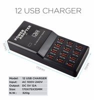 Desktop Adapter Fast Charger for Phone Tablet PC 5V 12A Output Max 0.3A Input Charge Smart 12 Port Multiple USB Charger USB Hub