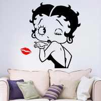 Сексуальная Бетти Буп девушки Губы Поцелуй Съемный Винил стены искусства стикеры гостиная спальня прихожая портрет дома окна наклейка B066