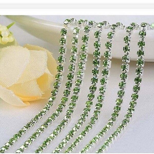 1 м/лот пришитые хрустальные стразы на цепочке SS6 SS8 SS10 SS12 Серебряная основа плотная коготь стеклянная отделка горного хрусталя DIY аксессуары - Цвет: Light Green