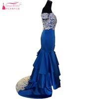 끈이 짧은 소매 어깨 인어 긴 댄스 파티 드레스 로얄 블루 레이스 아플리케 계층 이브닝