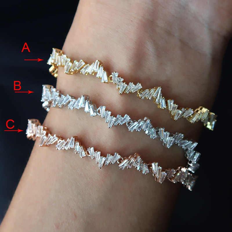 AccKing модный AAA кубический цирконий багет браслет медная основа с золотым цветом