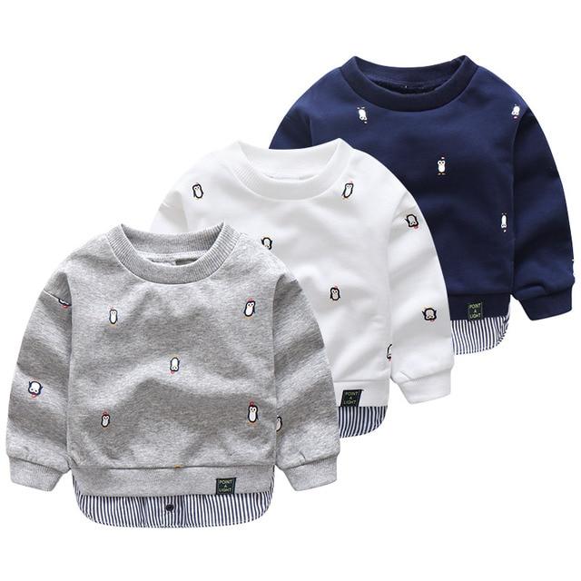 2018 Lente Herfst 2-10 Jaar Oude Kinderen Lange Mouw Cartoon Animal Print Patchwork Nep 2 stks Kids Basic sweatshirt Baby Boy