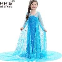 2017 Upscale Sequins Elsa Anna Girls Long Dress And Cape For Children Christmas Princess Dress Kids