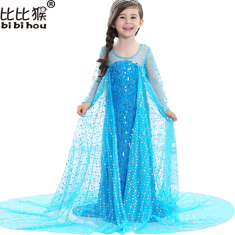 2017 Upscale Sequins Elsa Anna Girls long Dress and Cape for Children Christmas Princess Dress Kids Party Cosplay Girls clothes