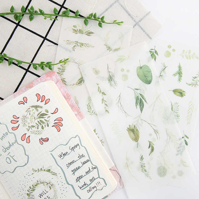 6 pcs/pack Green Leaves Stickers Set Decorative Stationery Sticker Scrapbooking DIY Diary Photo Album Decoration Stick Label