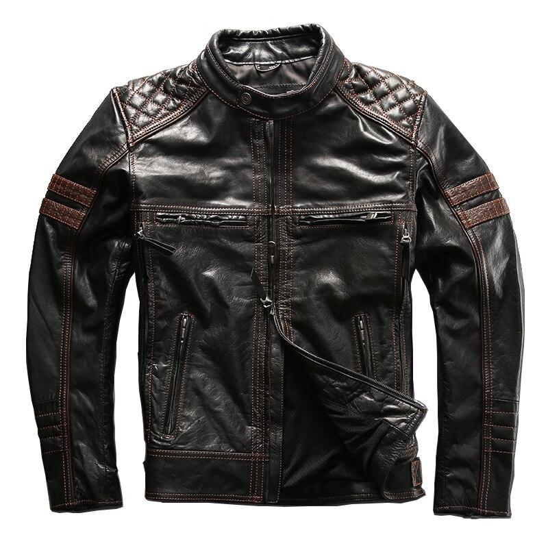 Leia a Descrição! Asiático tamanho mans vaca genuína jaqueta de couro revestimento da motocicleta harley motocicleta fino casaco de couro da pele do couro