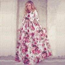 2016 neue Mode Stilvolle Dame Frauen Mode Lässig Blumen Gedruckt Langarm Maxi Langes Cocktail Volle Kleider
