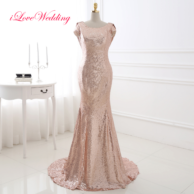 Buy iLoveWedding Sequined Champagne Mermaid Evening Dresses Cap Sleeve Scoop Neck Sweep Train Women Formal Party Dinner Gowns 18286
