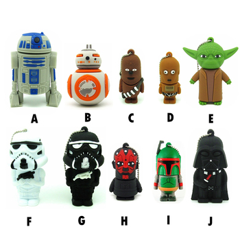 Cartoon star wars styles USB Flash Drive key 16GB 8GB 4GB 64GB 32GB  PenDrive Pen drive memory stick BB8/R2D2/darth vader/Yoda