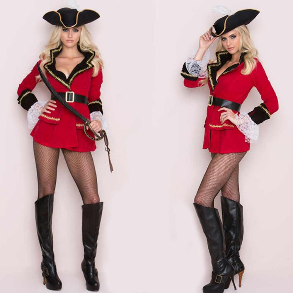 73435c1a04 Hot Red Sexy Pirate Costume Women Adult Cosplay Halloween Pirate Costume  Dress Fantasy Stage Performance Unfiom
