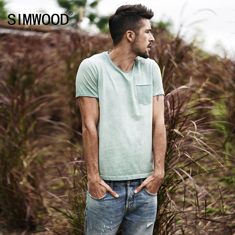 SIMWOOD 2019 Summer   T  -  Shirts   Men Slim Fit 100% Cotton V-neck Pocket Short Sleeve   T     Shirt   Male Brand Clothing 3 Colors 180053
