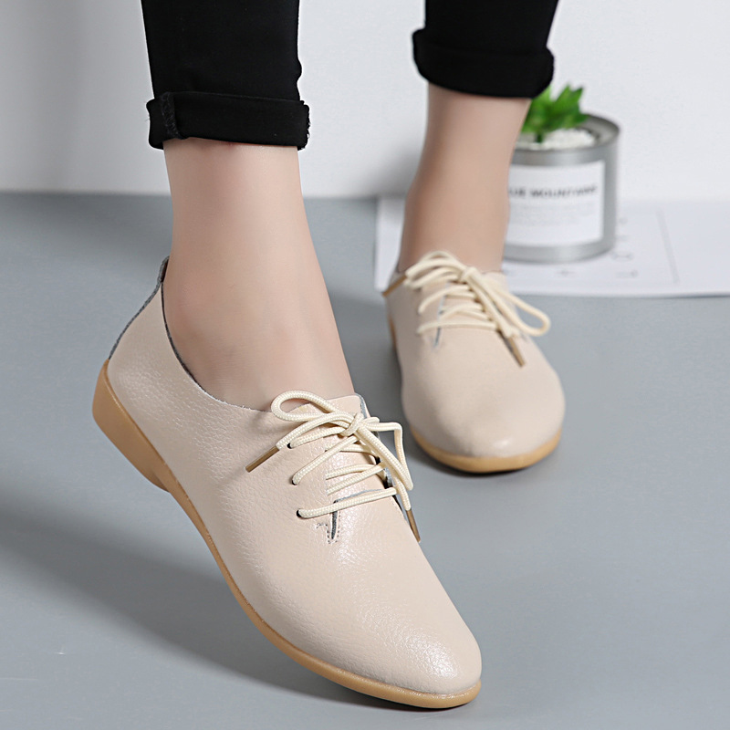Promotion 2018 Autumn New Women's Shoes Flats   Leather   Casual Shoes Woman Fashion Classics Low Pointed Lace-up Plus Size 35-44