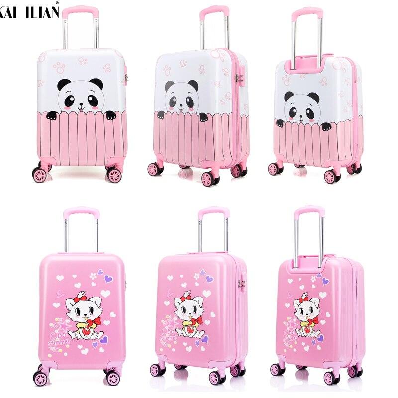 "18"" 19"" 20"" Inchs Suitcase Pink Panda Rolling Luggage Spinner Wheels Child Travel Trolley Suitcase Cute Kid Handbag Girls Gift"