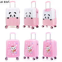 18 19 20 inchs suitcase pink Panda rolling luggage spinner wheels child travel trolley suitcase Cute Kid Handbag girls gift