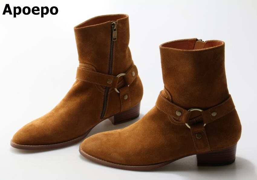 Autumn Winter Flat Ankle Boots Round Toe High Quality Buckle Strap Short Boots Woman High Quality Dress Real Photo