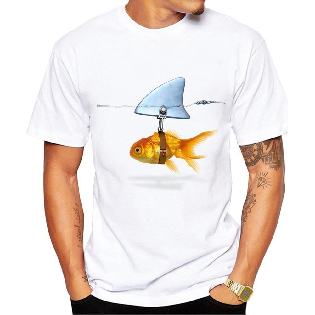 Goldfish Shark Fin Print Short Sleeve Round Neck T-Shirt Men Casual Summer Top