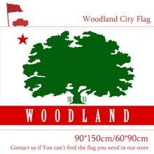 Free shipping USA Woodland City Flag 60*90cm 90*150cm Flag 100d Polyester Custom 3x5ft California State free shipping 90 150cm 60 90cm flag 100d custom polyester 3x5ft us santa barbara city flag of california state