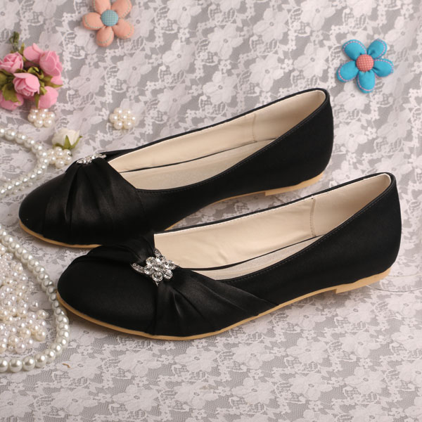 1db7f24e7020 Wedopus Hot Selling Women Shoes Black Flats Wedding Dress Shoes with Charms  Dropshipping