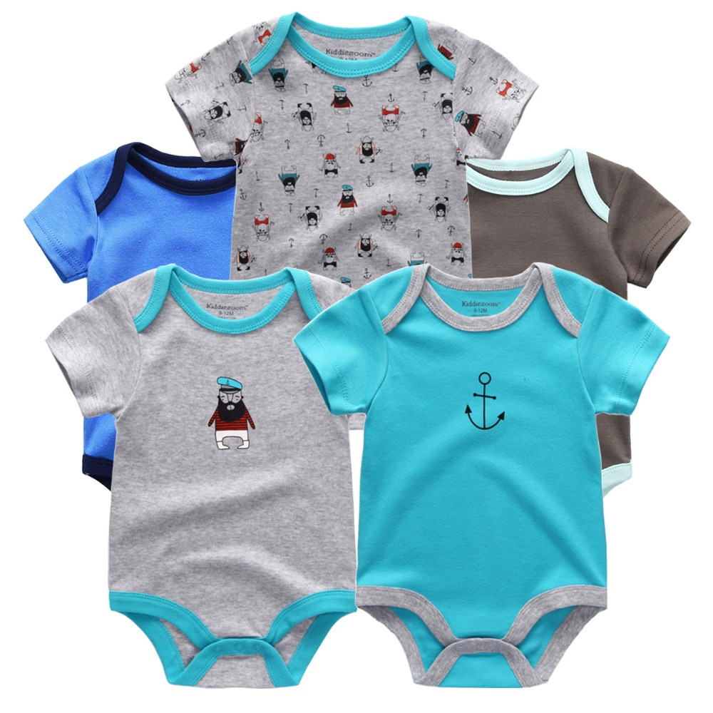 5pcs/lot Baby Romper Short Sleeve Summer Boys Clothing Set,baby Boys Clothes 0-3,3-6,6-9,-12 Months Newborn Baby Jumpsuit Chills And Pains