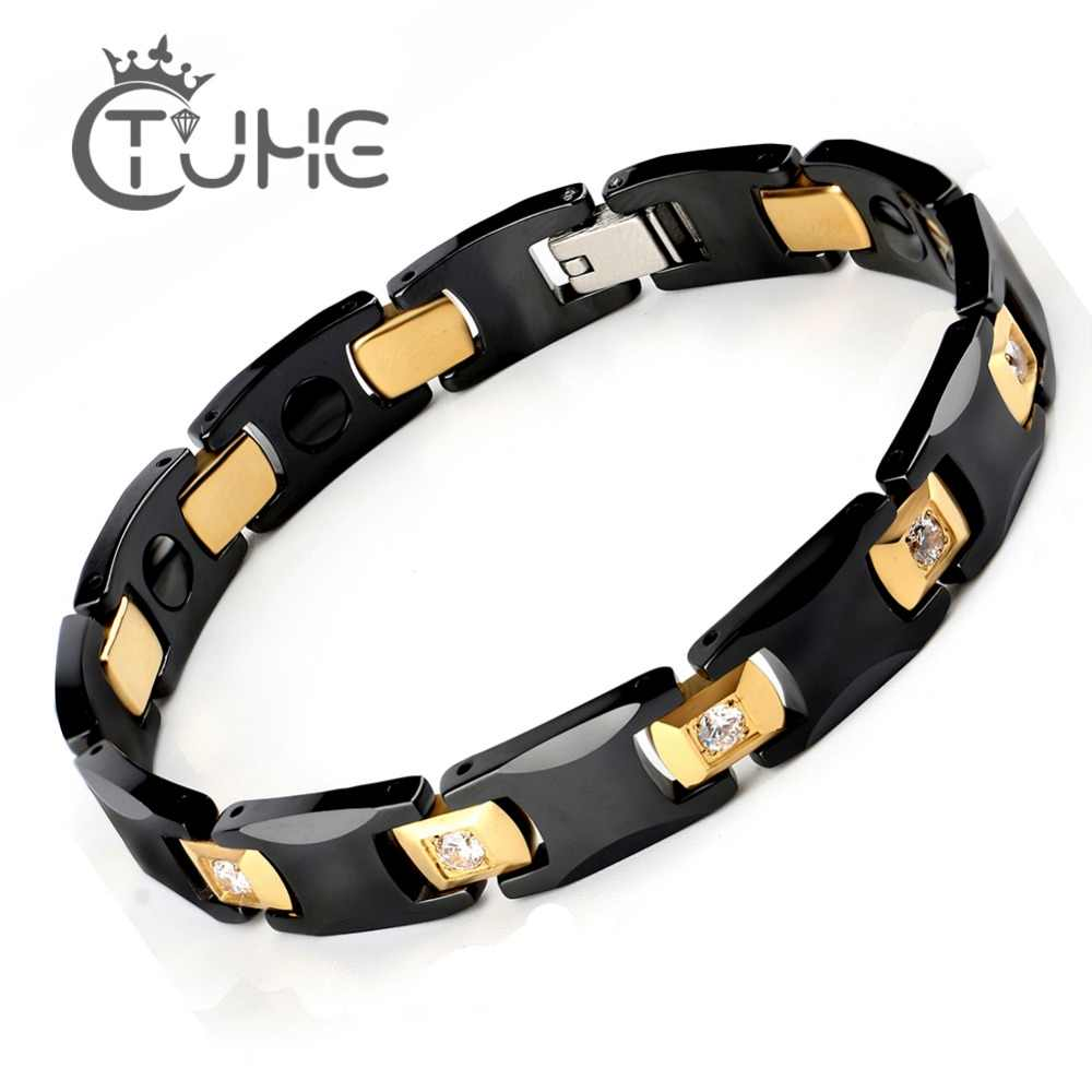 New Bio Energy Black Ceramic Bracelet Bangle Health Magnetic Power Titanium Bracelets Health Chain Charms For Women Men Jewelry