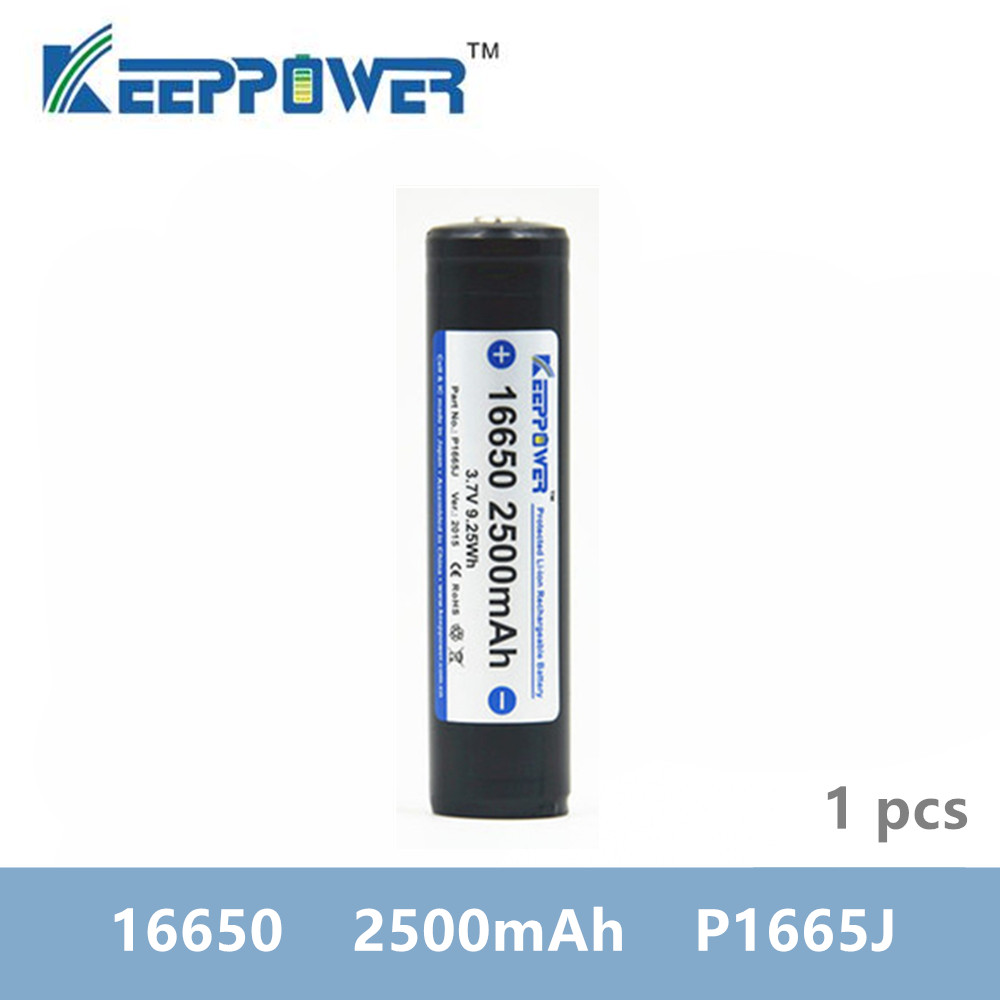 1 pcs KeepPower <font><b>16650</b></font> 2500mAh protected lithium rechargeable <font><b>battery</b></font> P1665J 3.7V drop shipping batteria image