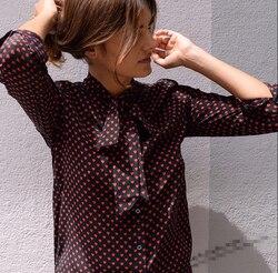 EQ 100% seda real rojo amor corazón cinta de lazo anudado señoras camisa de manga larga EQ blusa de las mujeres