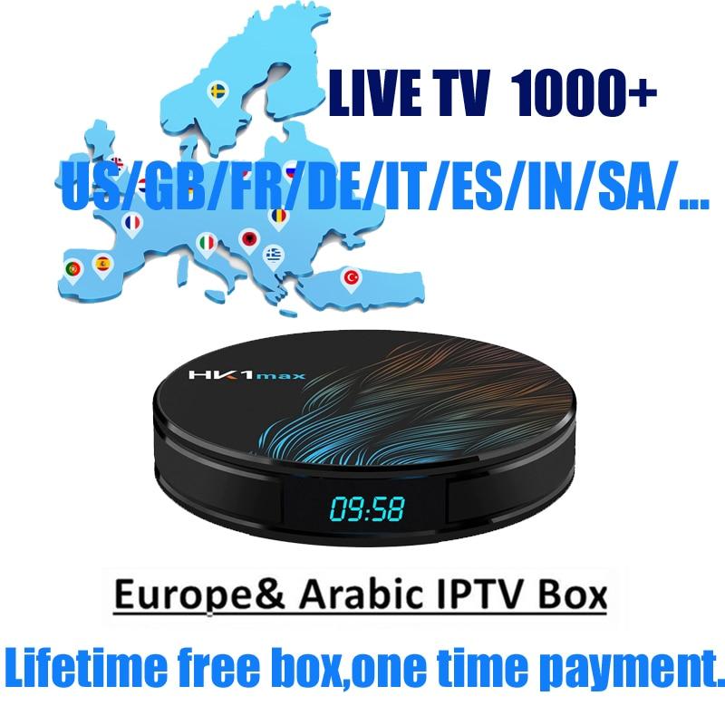 HK1 árabe IPTV caja vida suscripción gratuita malasia, EE. UU., Francia, España, India, Reino Unido canales HD Tv Box 1000 + canales android 9,0
