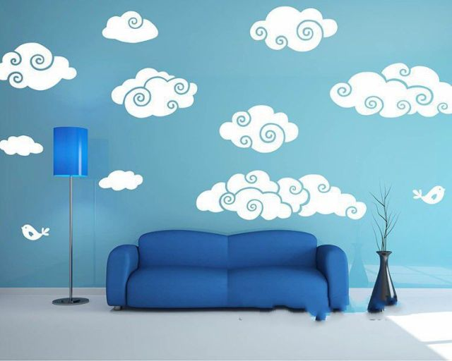 White Clouds Wall Sticker Cartoon Clouds Baby Nursery Wall Decal Vinyl Wall  Stickers For Kids Room