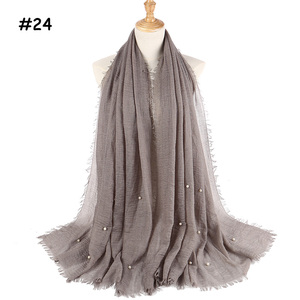 Image 5 - 女性ファッションバブル綿ビーズリンクルスカーフショール無地しわパールラップスカーフパシュミナスカーフ教徒のヘッドバンドヒジャーブ 190*100 センチメートル