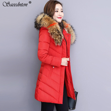 купить 2019 New Fashion Women Winter Jacket With Fur Collar Warm Hooded Female Womens Down Cotton Coat Long Parka Outwear Camperas XXXL дешево