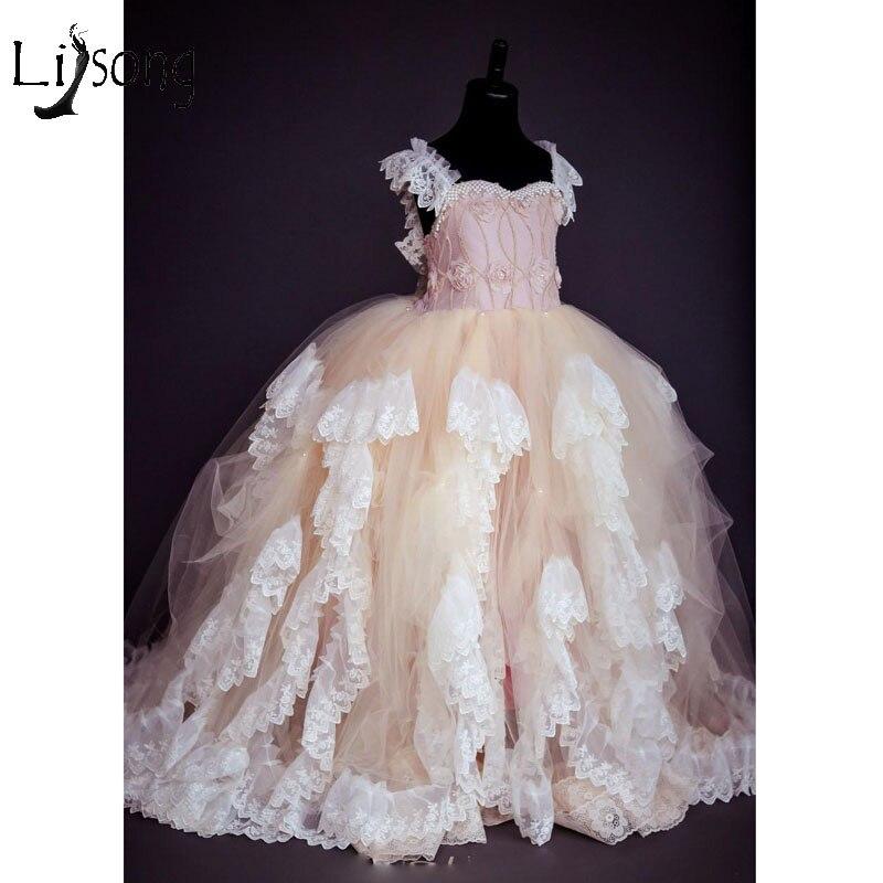 Cute Champagne Tutu   Flower     Girl     Dresses   2019 Beaded Puffy Ball Gowns Kids 3D   Flower   Communion   Dresses   Pageant   Dresses   For   Girls