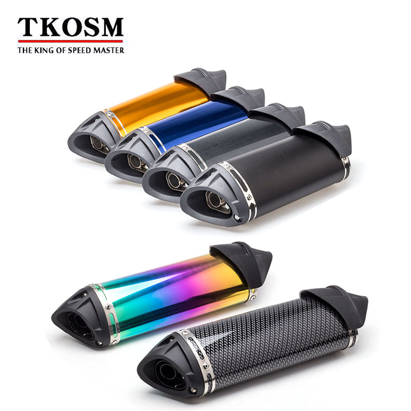 TKOSM Modified Exhaust Escape Moto Silencer 100cc 125cc 150cc GY6 Scooter Motorcycle CBR Rsz Dirt Pit Bike Accessories modified akrapovic exhaust escape moto silencer 100cc 125cc 150cc gy6 scooter motorcycle cbr jog rsz dirt pit bike accessories