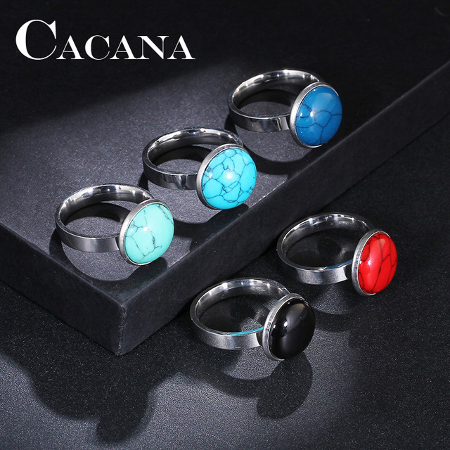 CACANA Titanium Stainless Steel Rings New Fashion Rings For Women Engagement Rou