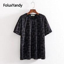 Shinny Hole Tops Women Plus Size Short Sleeve T-shirt Black White Casual O-neck Loose Plaid Summer KKFY3456