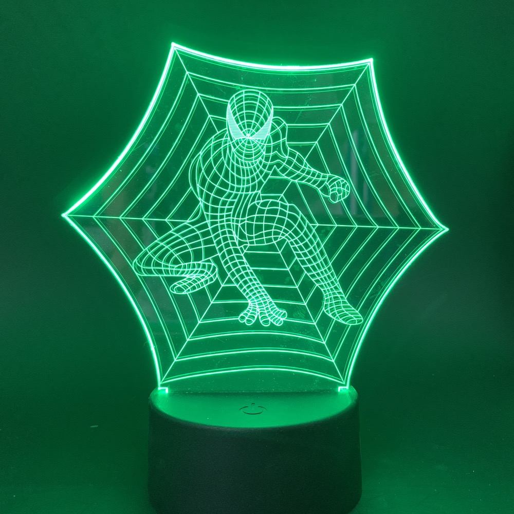Led Night Light New 2019 Spider Man Marvel Superhero 7 Colors Changing Touch Switch Nightlight Usb Battery Powered Desk Lamp 3d in LED Night Lights from Lights Lighting