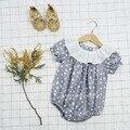 Newborn Baby Clothes 2017 Summer Baby Girl Romper 100% Cotton Star Pattern Ruffle Raglan Infant Newborn Baby Clothes