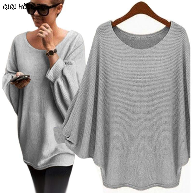 Oversized Sweater Bawting Sleeve Autumn Pullovers Women Basic ...
