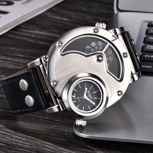 Men's Multiple Time Zone Leather Strap Watch