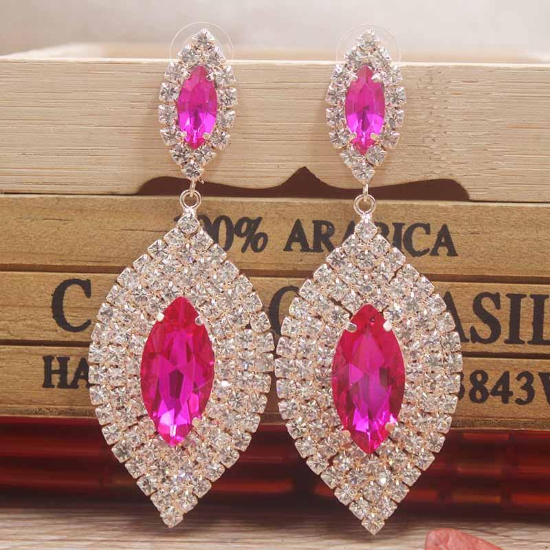 16 Color rhinestone Earrings Delicate Women Excelletn Dangle Wedding Earring Jewelry champagne/hotpink /black Crystal