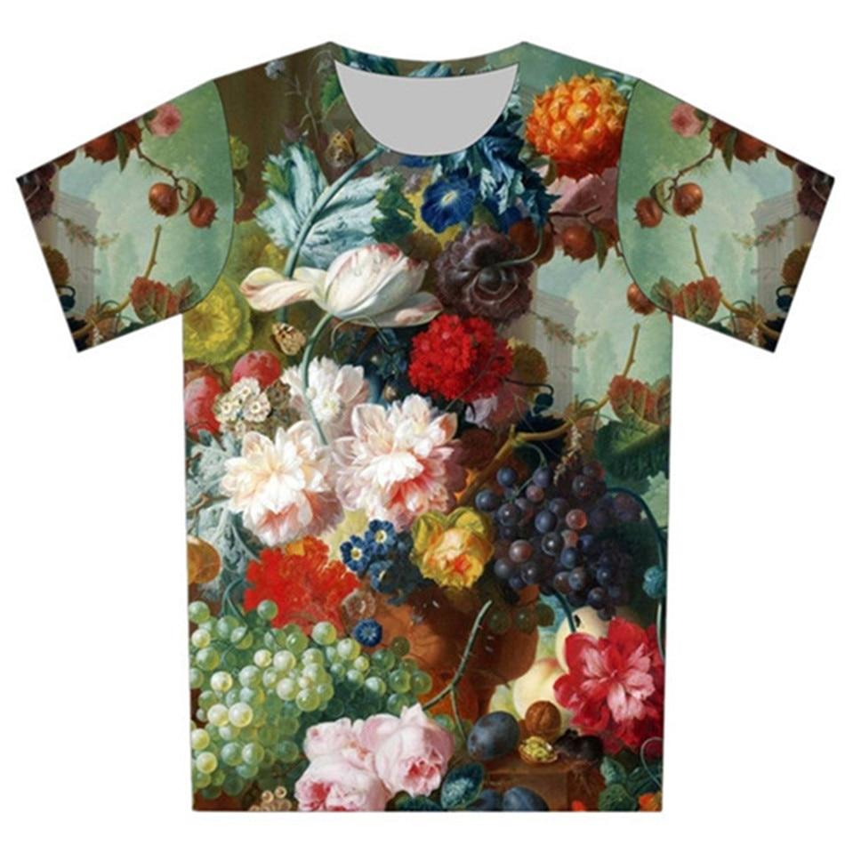 Joyonly 2018 Children Oil Painting Design Fruit Flower Printing T-shirts Girls/Boys Summer Tops Kids Short Sleeve T shirt 4-20Y