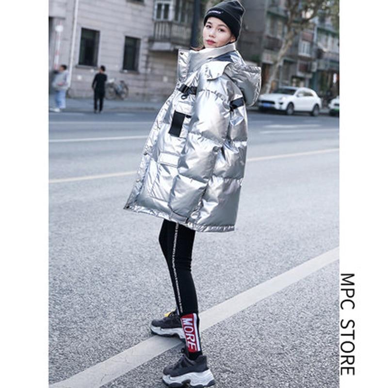 winter jacket women 2019 Fashion Sliver Warm Cotton Coat Outwear Female Long padded   parka   women's overcoat casaco feminino L430