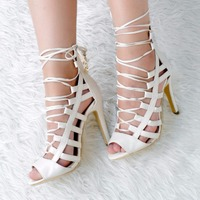 Womens Fashion Handmade 11cm High Heel Cut Cut Peep Toe Party Prom Sandals Shoes XD002