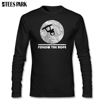 Fashion Men Wakeboard Follow The Rope T Shirt Clothes Adult 100% Cotton Abstract Long Sleeve Tshirt For Men's