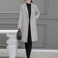 CHAMSGEND новые хлопковые пальто Для женщин с длинным рукавом отложной воротник Верхняя одежда, куртки Повседневное осень-зима Элегантное длин...