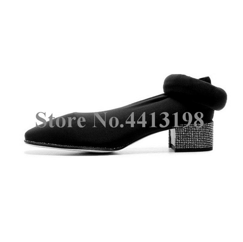Nouveau Noir on Chaussures Le Femmes As Bottes Européenne Picture De Long Rond Pour Sur Chaussette Talon Genou Carré Med Cristal Dames Slip Bout d5nwUqxw