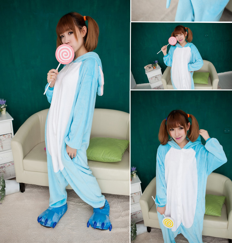 Fashion All in one Blue Elephant Cosplay Costume Adult Onsies Flannel Fleece Animal Pajamase Pyjamas for Women Party Dress