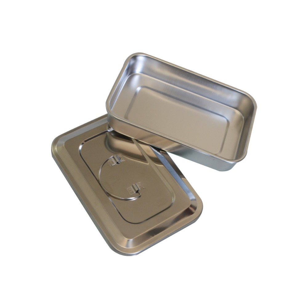 1Pc Stainless Steel Medical Disinfection Box With Cover Plates Without Hole High Temperature Disinfection Equipment Tray 9 Inch