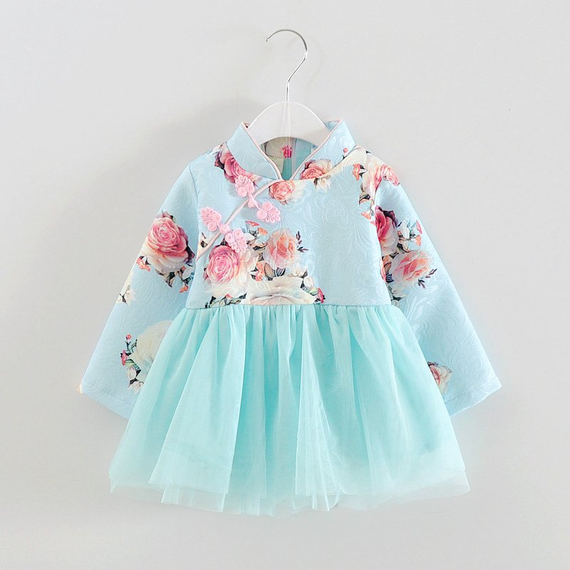 89a3cb4a96476 Baby Girls spring Dress Chinese Style Traditional New Year Dress Tang suit  Vintage Dress for Girls Kids Clothes baby Girls-in Dresses from Mother    Kids on ...
